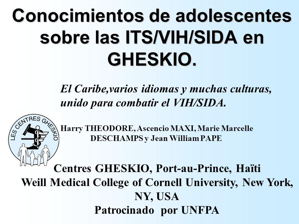 Conocimientos de adolescentes sobre las ITS/VIH/SIDA en GHESKIO. El Caribe,varios idiomas y muchas culturas, unido para combatir el VIH/SIDA. Harry TH