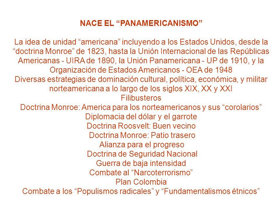 NACE EL PANAMERICANISMO La idea de unidad americana incluyendo a los Estados Unidos, desde la doctrina Monroe de 1823, hasta la Unión Internacional de