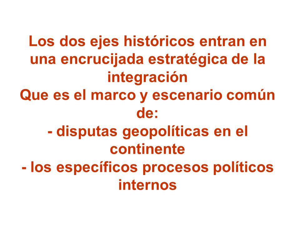 Los dos ejes históricos entran en una encrucijada estratégica de la integración Que es el marco y escenario común de: - disputas geopolíticas en el co