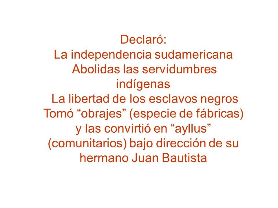Declaró: La independencia sudamericana Abolidas las servidumbres indígenas La libertad de los esclavos negros Tomó obrajes (especie de fábricas) y las