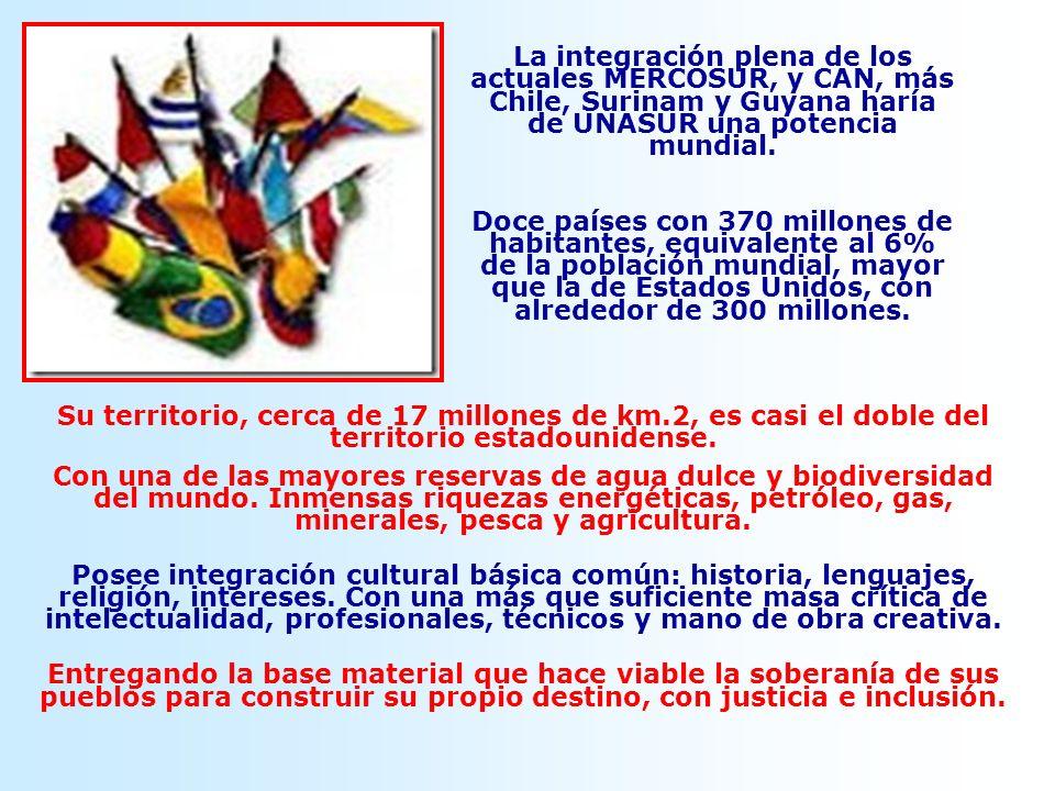 La integración plena de los actuales MERCOSUR, y CAN, más Chile, Surinam y Guyana haría de UNASUR una potencia mundial. Doce países con 370 millones d