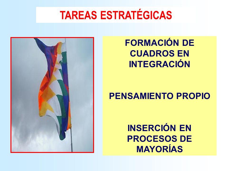 TAREAS ESTRATÉGICAS FORMACIÓN DE CUADROS EN INTEGRACIÓN PENSAMIENTO PROPIO INSERCIÓN EN PROCESOS DE MAYORÍAS