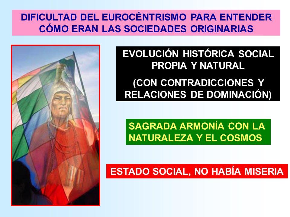 EVOLUCIÓN HISTÓRICA SOCIAL PROPIA Y NATURAL (CON CONTRADICCIONES Y RELACIONES DE DOMINACIÓN) SAGRADA ARMONÍA CON LA NATURALEZA Y EL COSMOS ESTADO SOCI