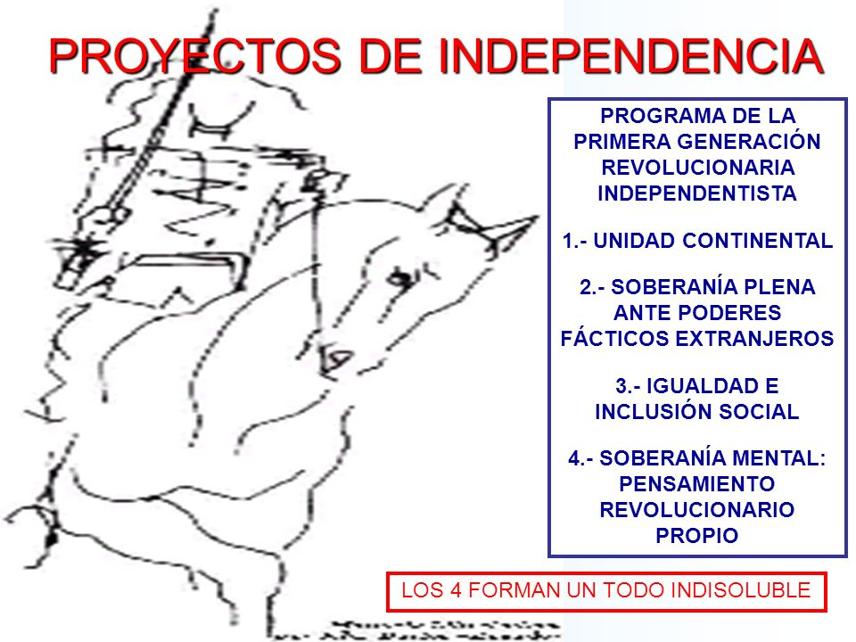 PROYECTOS DE INDEPENDENCIA PROGRAMA DE LA PRIMERA GENERACIÓN REVOLUCIONARIA INDEPENDENTISTA 1.- UNIDAD CONTINENTAL 2.- SOBERANÍA PLENA ANTE PODERES FÁ