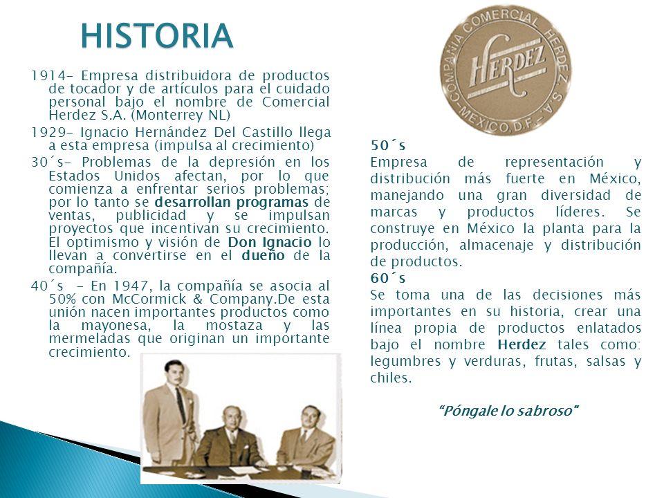 1914- Empresa distribuidora de productos de tocador y de artículos para el cuidado personal bajo el nombre de Comercial Herdez S.A. (Monterrey NL) 192