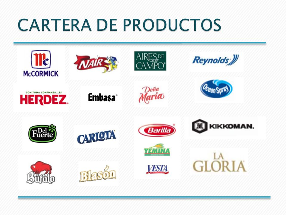 5 grupos de productos
