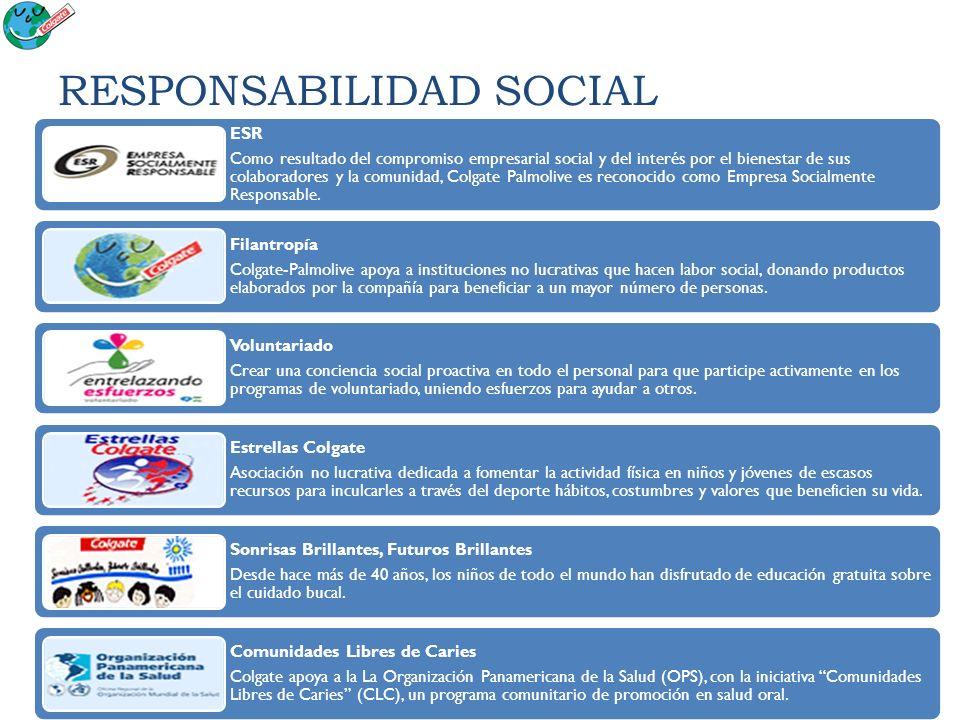 RESPONSABILIDAD SOCIAL ESR Como resultado del compromiso empresarial social y del interés por el bienestar de sus colaboradores y la comunidad, Colgat