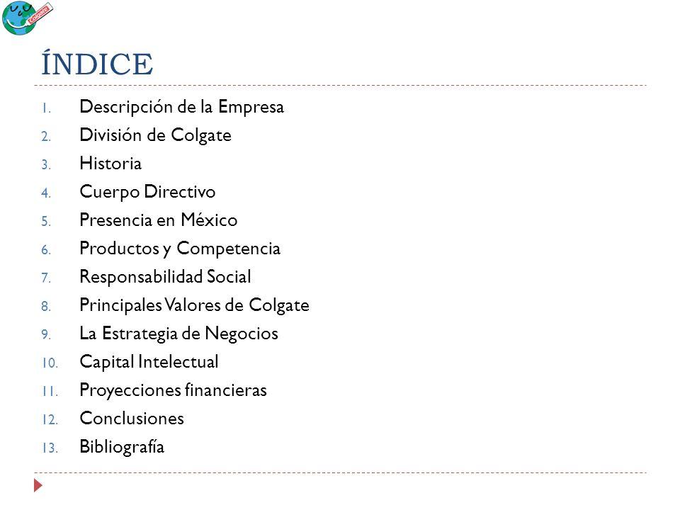 ÍNDICE 1. Descripción de la Empresa 2. División de Colgate 3. Historia 4. Cuerpo Directivo 5. Presencia en México 6. Productos y Competencia 7. Respon