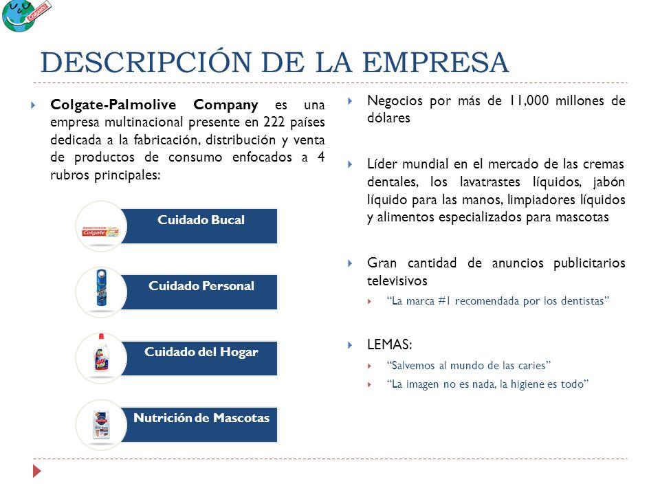 DESCRIPCIÓN DE LA EMPRESA Colgate-Palmolive Company es una empresa multinacional presente en 222 países dedicada a la fabricación, distribución y vent