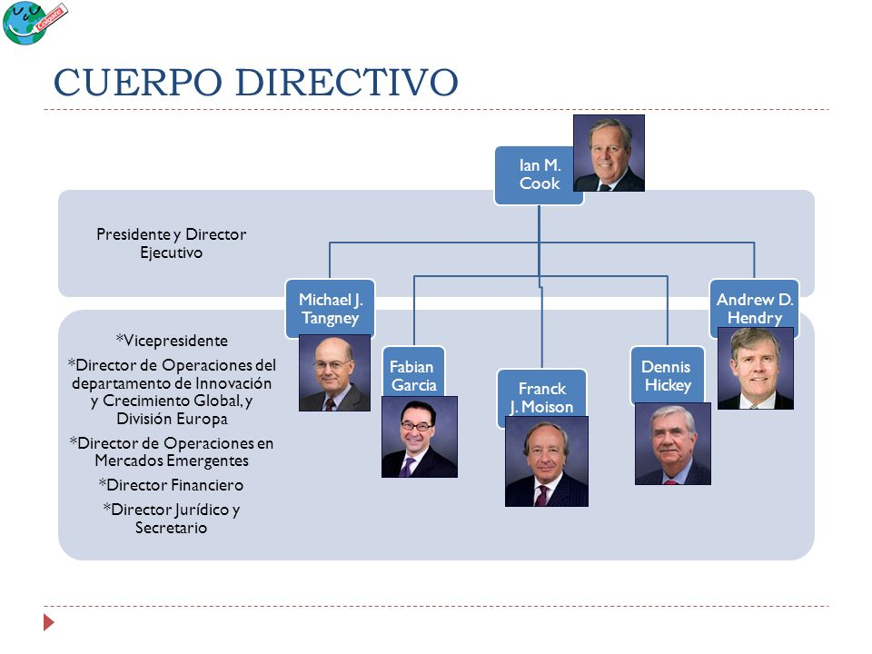 CUERPO DIRECTIVO *Vicepresidente *Director de Operaciones del departamento de Innovación y Crecimiento Global, y División Europa *Director de Operacio