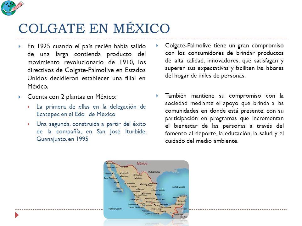 COLGATE EN MÉXICO En 1925 cuando el país recién había salido de una larga contienda producto del movimiento revolucionario de 1910, los directivos de