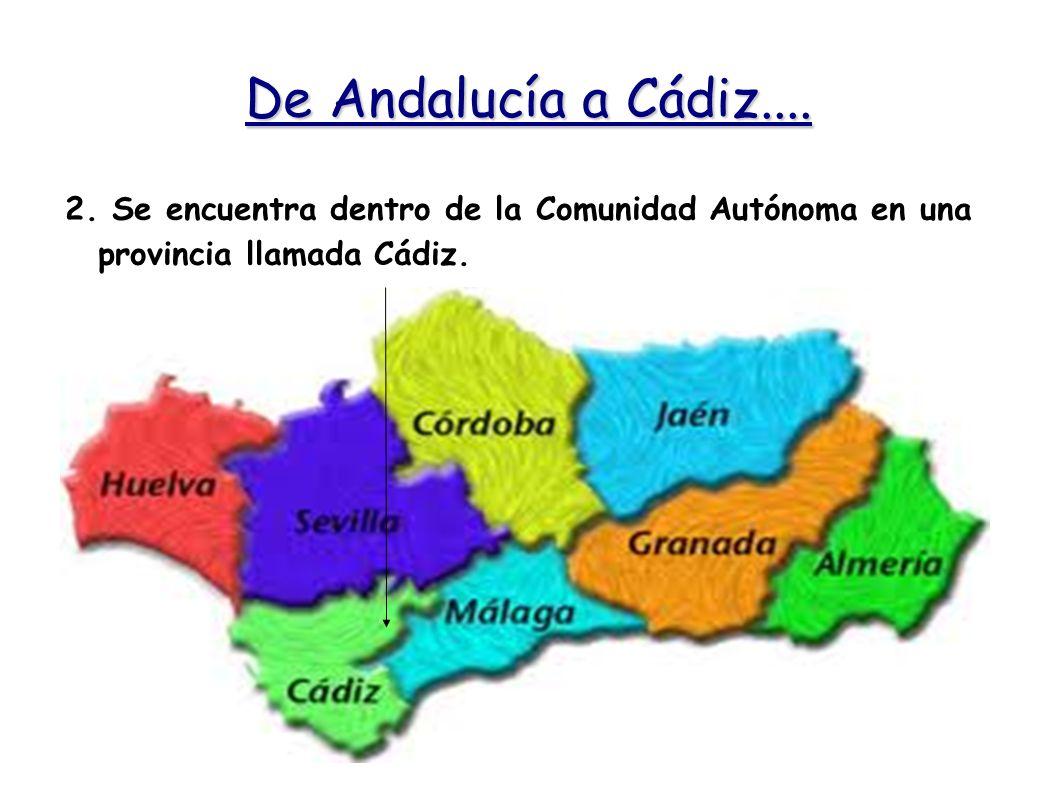 De Andalucía a Cádiz.... 2. Se encuentra dentro de la Comunidad Autónoma en una provincia llamada Cádiz.