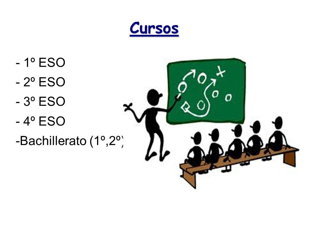 Cursos - 1º ESO - 2º ESO - 3º ESO - 4º ESO -Bachillerato (1º,2º)