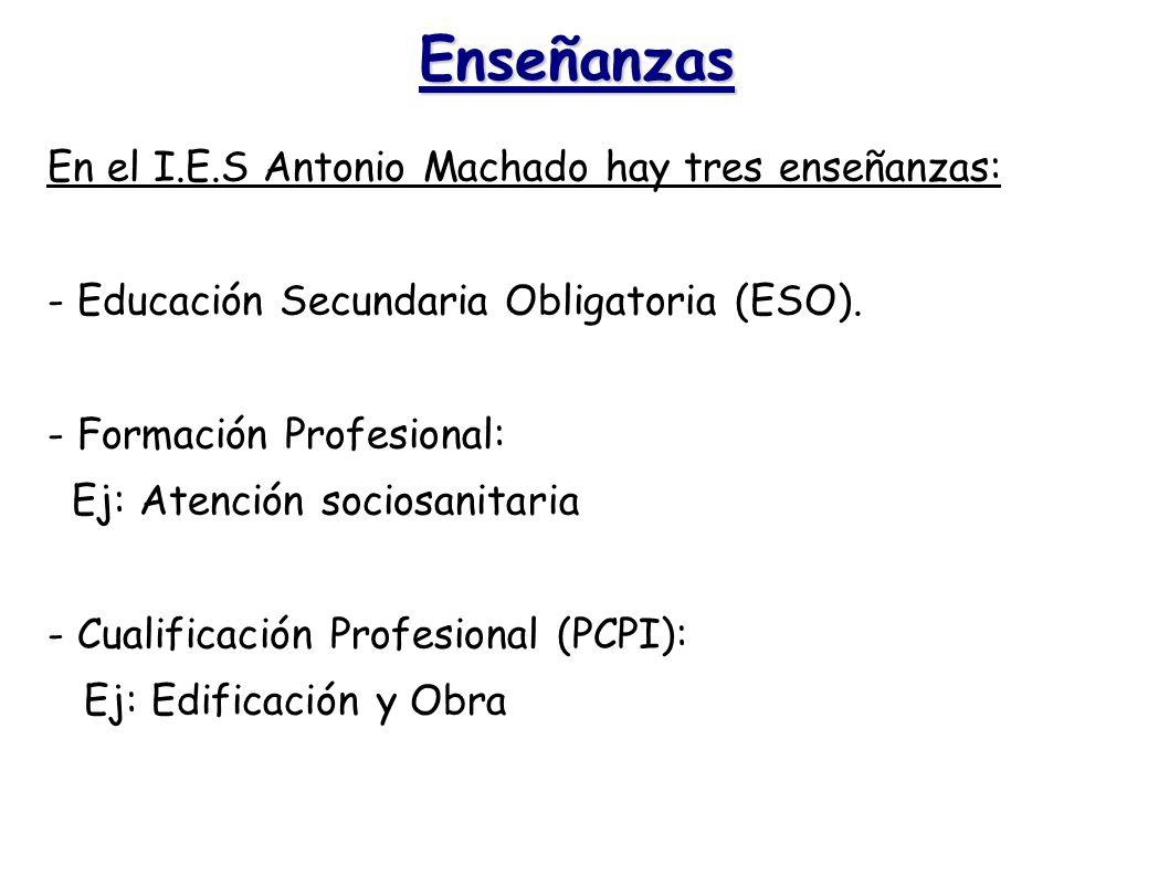 Enseñanzas En el I.E.S Antonio Machado hay tres enseñanzas: - Educación Secundaria Obligatoria (ESO). - Formación Profesional: Ej: Atención sociosanit