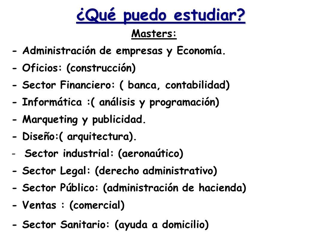 ¿Qué puedo estudiar? Masters: - Administración de empresas y Economía. - Oficios: (construcción) - Sector Financiero: ( banca, contabilidad) - Informá