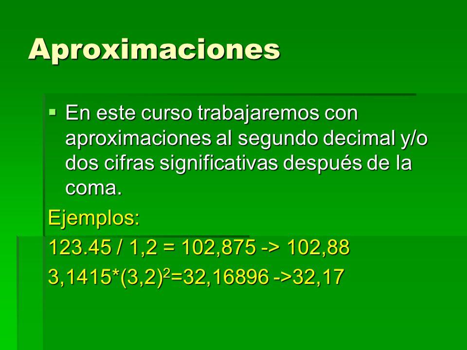 Aproximaciones En este curso trabajaremos con aproximaciones al segundo decimal y/o dos cifras significativas después de la coma. En este curso trabaj