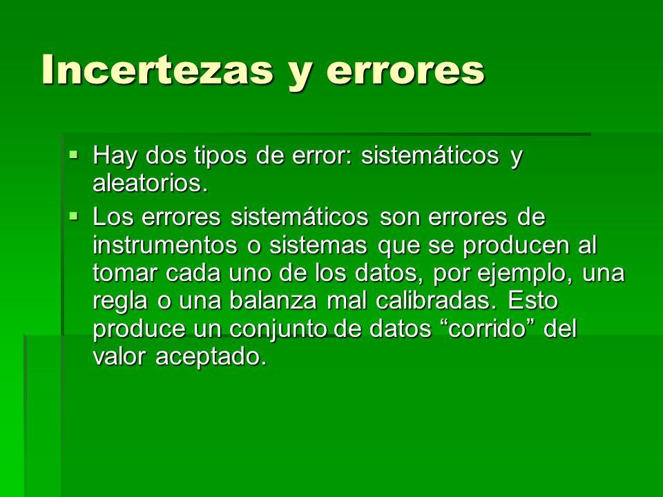 Incertezas y errores Hay dos tipos de error: sistemáticos y aleatorios. Hay dos tipos de error: sistemáticos y aleatorios. Los errores sistemáticos so