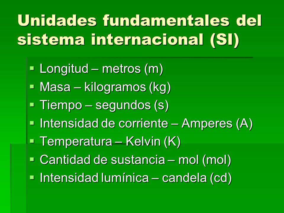 Unidades derivadas Cantidad Unidad derivada Unidad base en el SI Alternativa Fuerza Newton (N) kg m s -2 (kg m/s 2 ) Energía Joule (J) kg m 2 s -2 (kg m 2 /s 2 ) N·m PotenciaWatt(W) kg m 2 s -3 J·s -1 (J/s) Carga Coulomb (C) A s Diferencia de potencial (voltaje) Volt (V) Kg m 2 s -3 A -1 W/A Frecuencia Hertz (Hz) S -1 (1/s) Etc.
