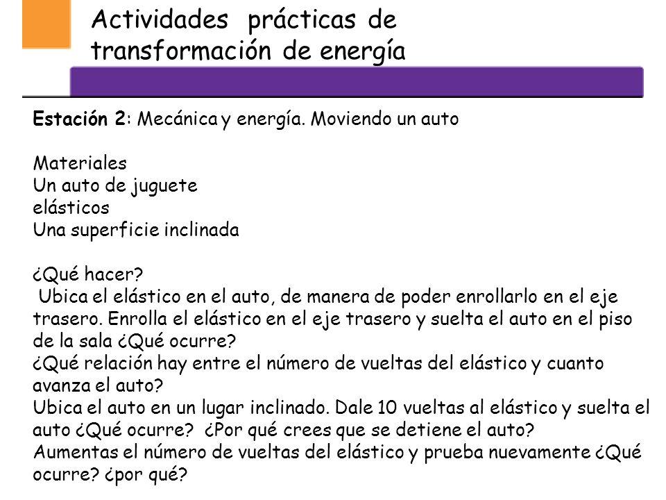 Actividades prácticas de transformación de energía Estación 1: Química y energía ¿Qué ocurrirá? Materiales 40 ml de vinagre 40 ml de jugo de limón Med