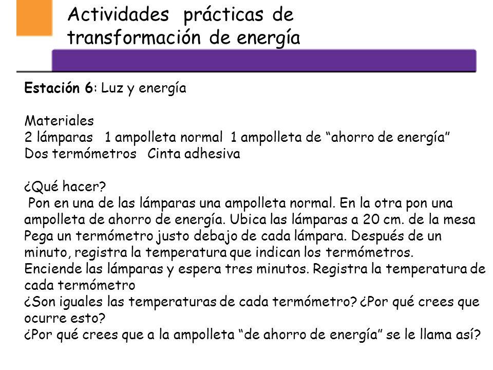 Actividades prácticas de transformación de energía Estación 6: Luz y energía Materiales 2 lámparas 1 ampolleta normal 1 ampolleta de ahorro de energía