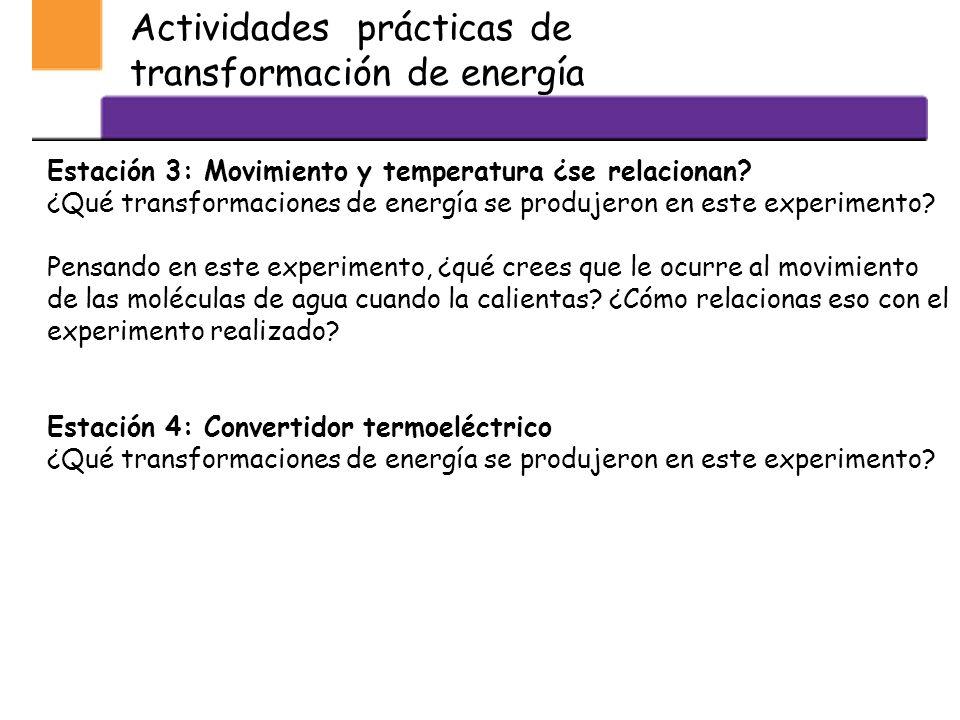 Actividades prácticas de transformación de energía Estación 1: Química y energía ¿Qué ocurrirá? ¿Qué transformaciones de energía se produjeron en este