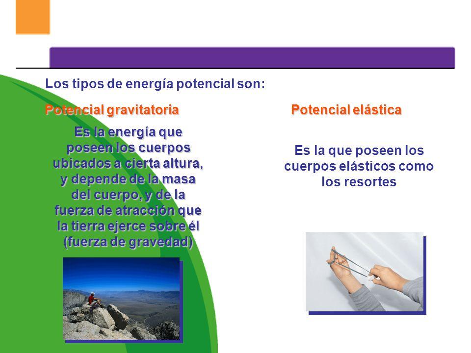¿Qué tipos de energía existen? Energía potencial Es la que se encuentra almacenada en los cuerpos debido a su posición, deformación o composición. Ene