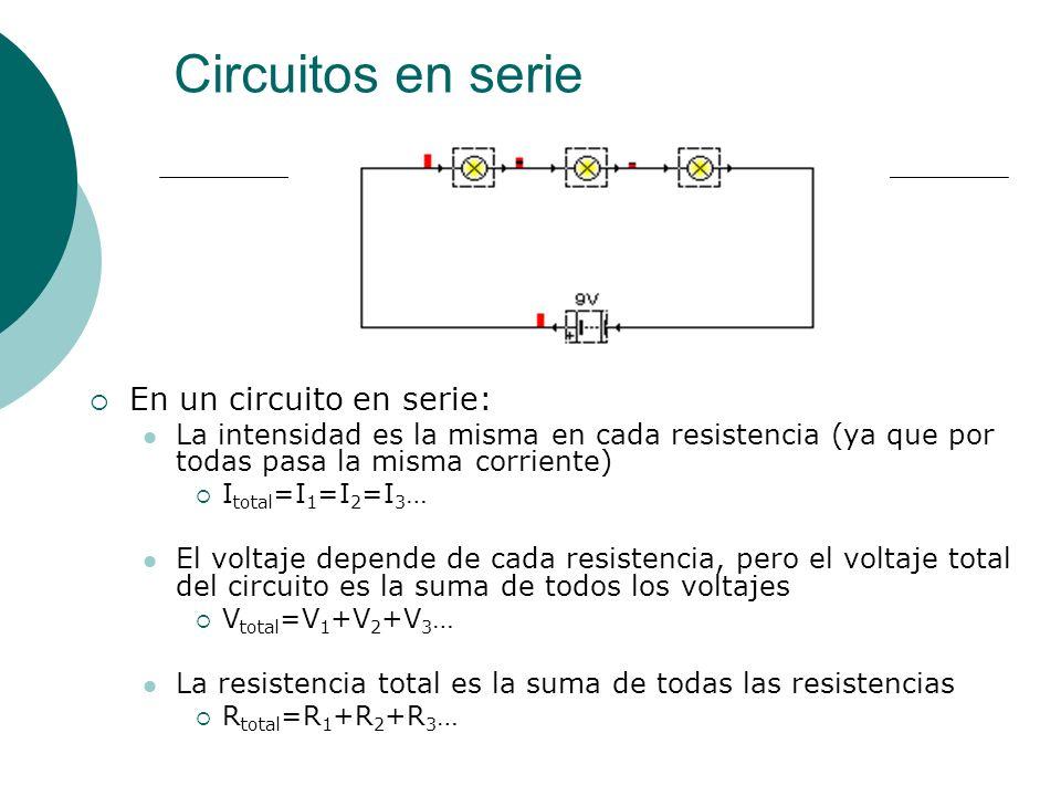 Circuitos en serie En un circuito en serie: La intensidad es la misma en cada resistencia (ya que por todas pasa la misma corriente) I total =I 1 =I 2