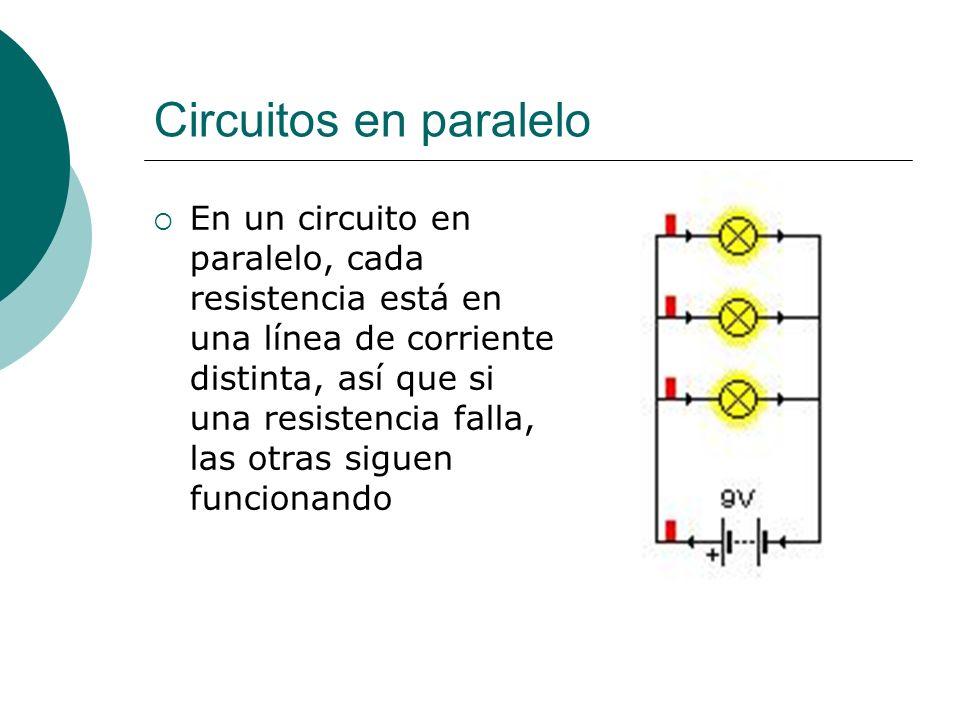 Circuitos en paralelo En un circuito en paralelo, cada resistencia está en una línea de corriente distinta, así que si una resistencia falla, las otra