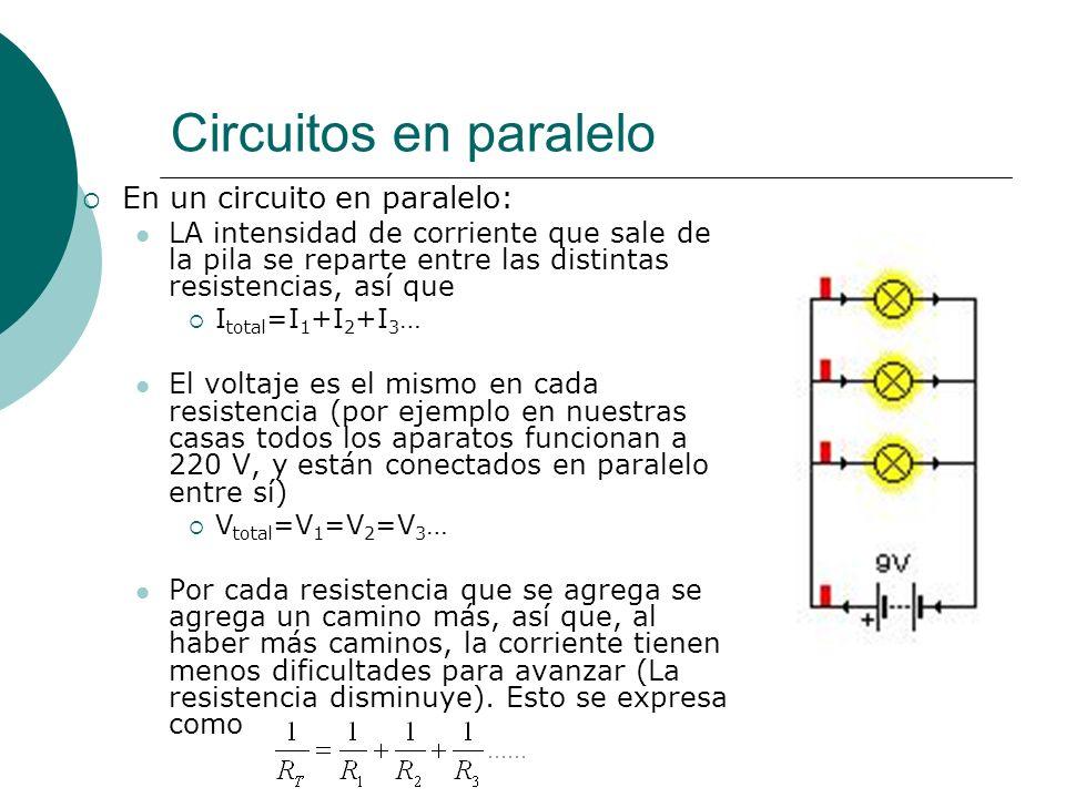 Circuitos en paralelo En un circuito en paralelo: LA intensidad de corriente que sale de la pila se reparte entre las distintas resistencias, así que