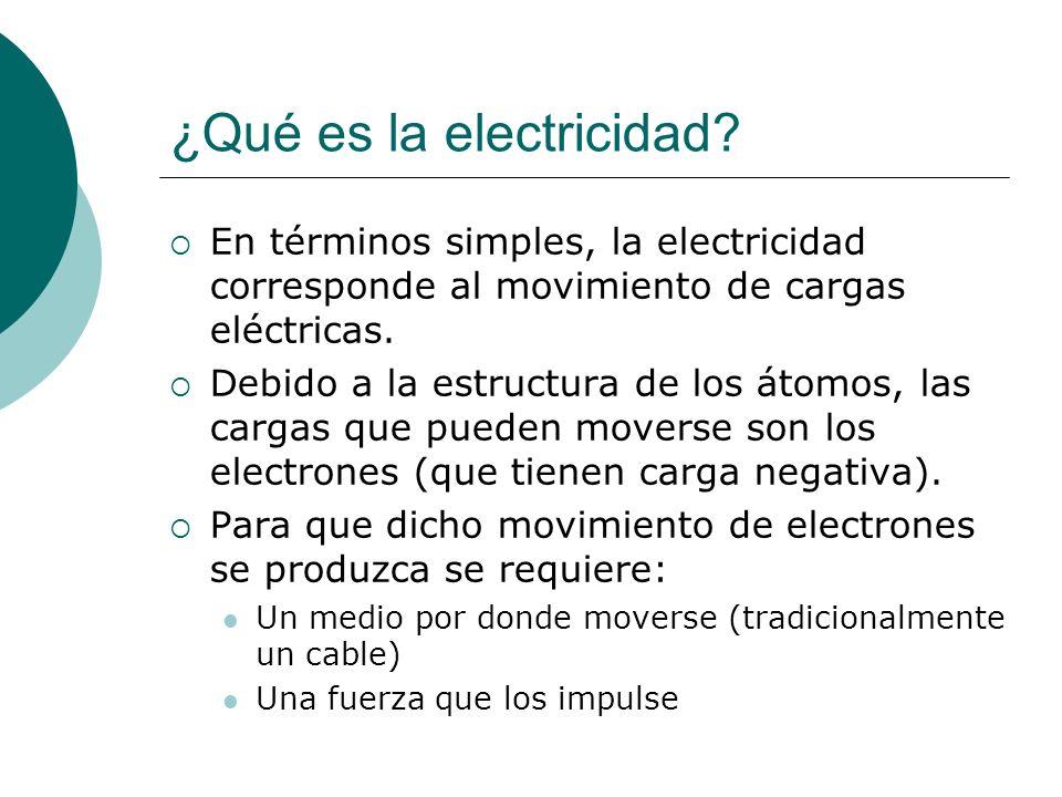 ¿Qué es la electricidad? En términos simples, la electricidad corresponde al movimiento de cargas eléctricas. Debido a la estructura de los átomos, la