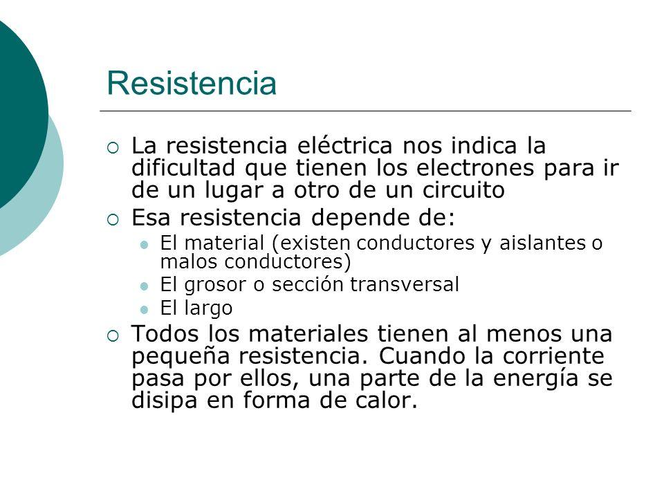 Resistencia La resistencia eléctrica nos indica la dificultad que tienen los electrones para ir de un lugar a otro de un circuito Esa resistencia depe