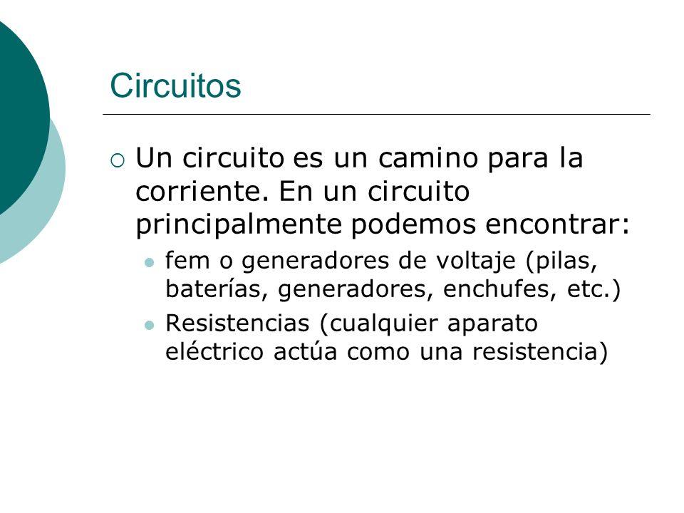 Circuitos Un circuito es un camino para la corriente. En un circuito principalmente podemos encontrar: fem o generadores de voltaje (pilas, baterías,
