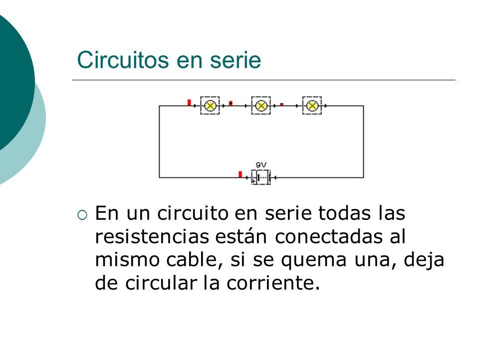 Circuitos en serie En un circuito en serie: La intensidad es la misma en cada resistencia (ya que por todas pasa la misma corriente) I total =I 1 =I 2 =I 3 … El voltaje depende de cada resistencia, pero el voltaje total del circuito es la suma de todos los voltajes V total =V 1 +V 2 +V 3 … La resistencia total es la suma de todas las resistencias R total =R 1 +R 2 +R 3 …