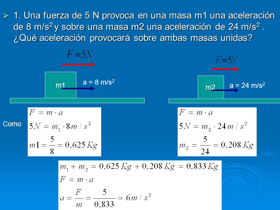 1. Una fuerza de 5 N provoca en una masa m1 una aceleración de 8 m/s 2 y sobre una masa m2 una aceleración de 24 m/s 2. ¿Qué aceleración provocará sob