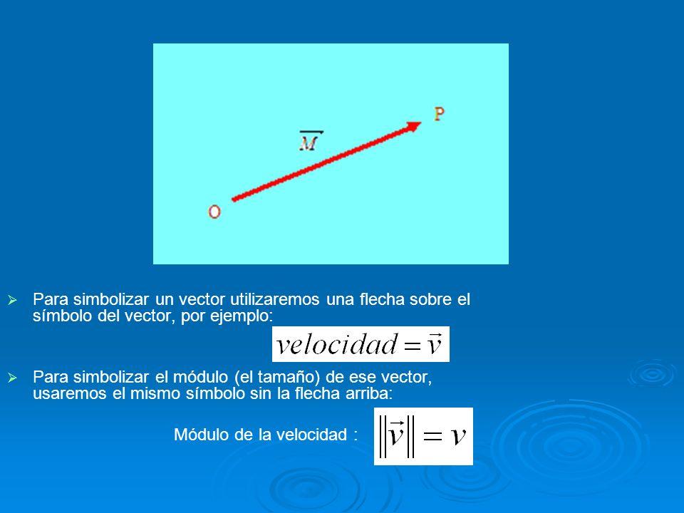 2.3 Vector Para simbolizar un vector utilizaremos una flecha sobre el símbolo del vector, por ejemplo: Para simbolizar el módulo (el tamaño) de ese ve