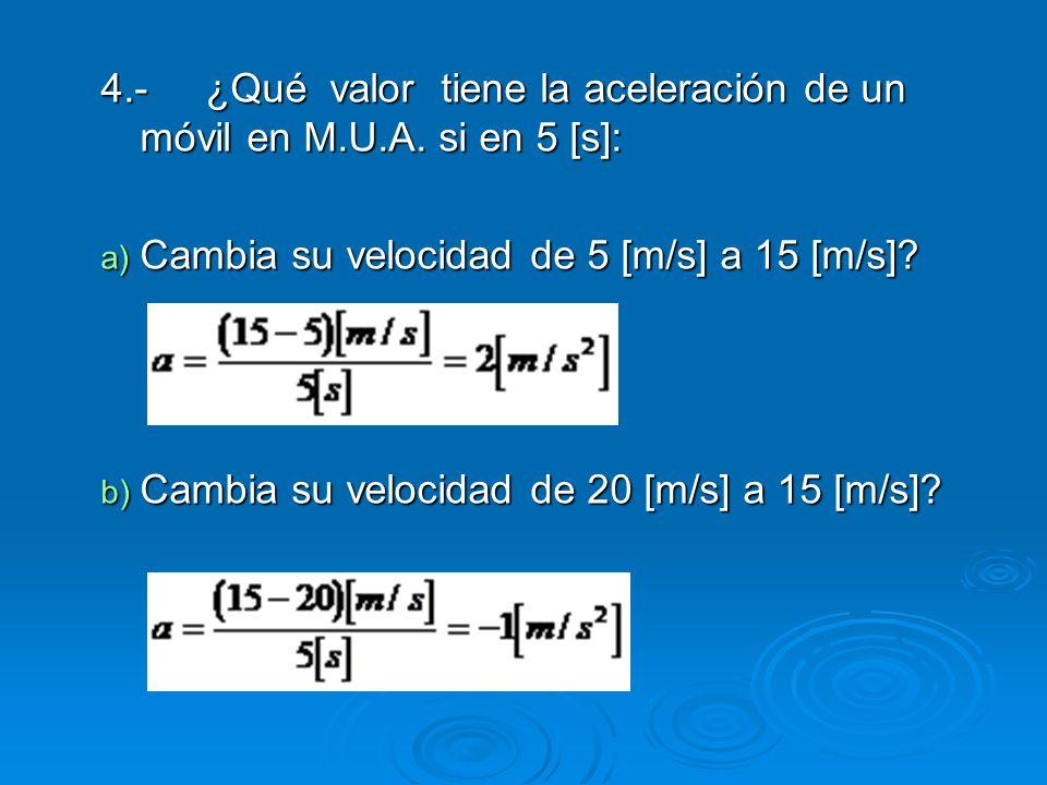 4.-¿Qué valor tiene la aceleración de un móvil en M.U.A. si en 5 [s]: a) Cambia su velocidad de 5 [m/s] a 15 [m/s]? b) Cambia su velocidad de 20 [m/s]