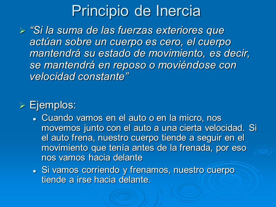 Principio de Inercia Si la suma de las fuerzas exteriores que actúan sobre un cuerpo es cero, el cuerpo mantendrá su estado de movimiento, es decir, se mantendrá en reposo o moviéndose con velocidad constante Si la suma de las fuerzas exteriores que actúan sobre un cuerpo es cero, el cuerpo mantendrá su estado de movimiento, es decir, se mantendrá en reposo o moviéndose con velocidad constante Ejemplos: Ejemplos: Cuando vamos en el auto o en la micro, nos movemos junto con el auto a una cierta velocidad.