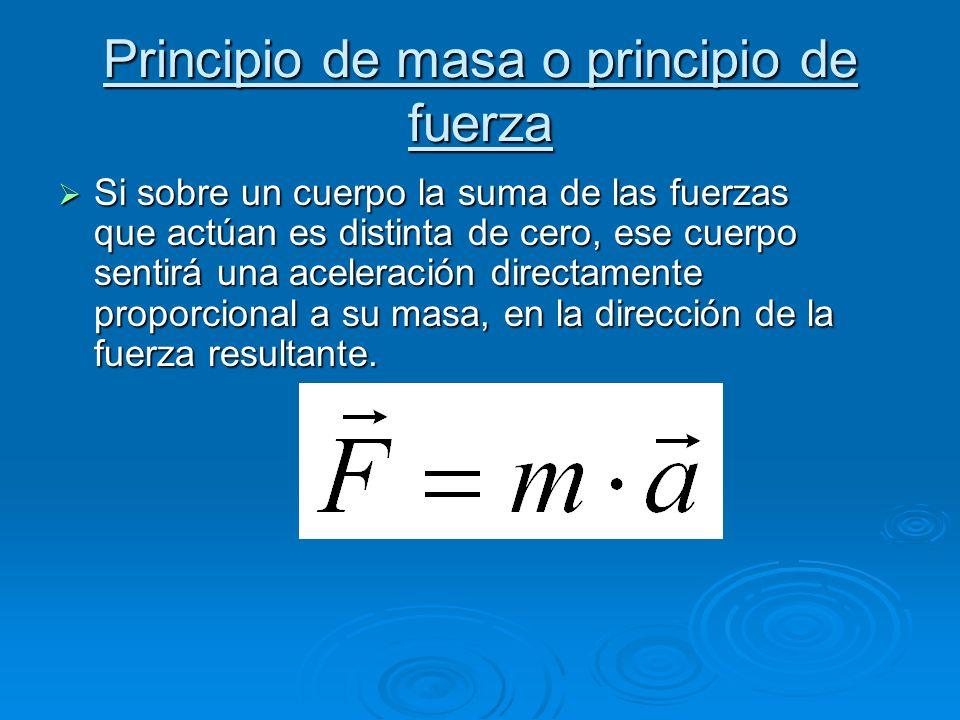 Principio de masa o principio de fuerza Si sobre un cuerpo la suma de las fuerzas que actúan es distinta de cero, ese cuerpo sentirá una aceleración directamente proporcional a su masa, en la dirección de la fuerza resultante.