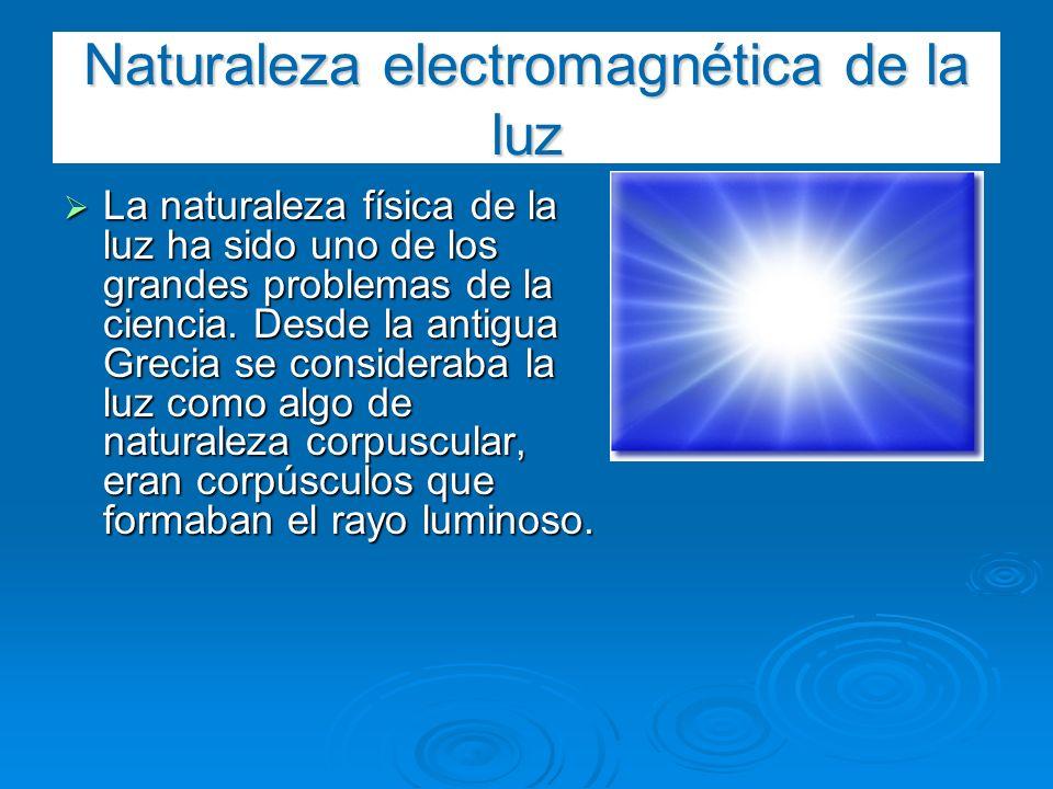 Naturaleza electromagnética de la luz La naturaleza física de la luz ha sido uno de los grandes problemas de la ciencia. Desde la antigua Grecia se co