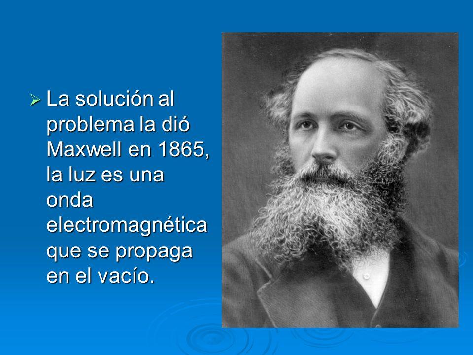 La solución al problema la dió Maxwell en 1865, la luz es una onda electromagnética que se propaga en el vacío. La solución al problema la dió Maxwell