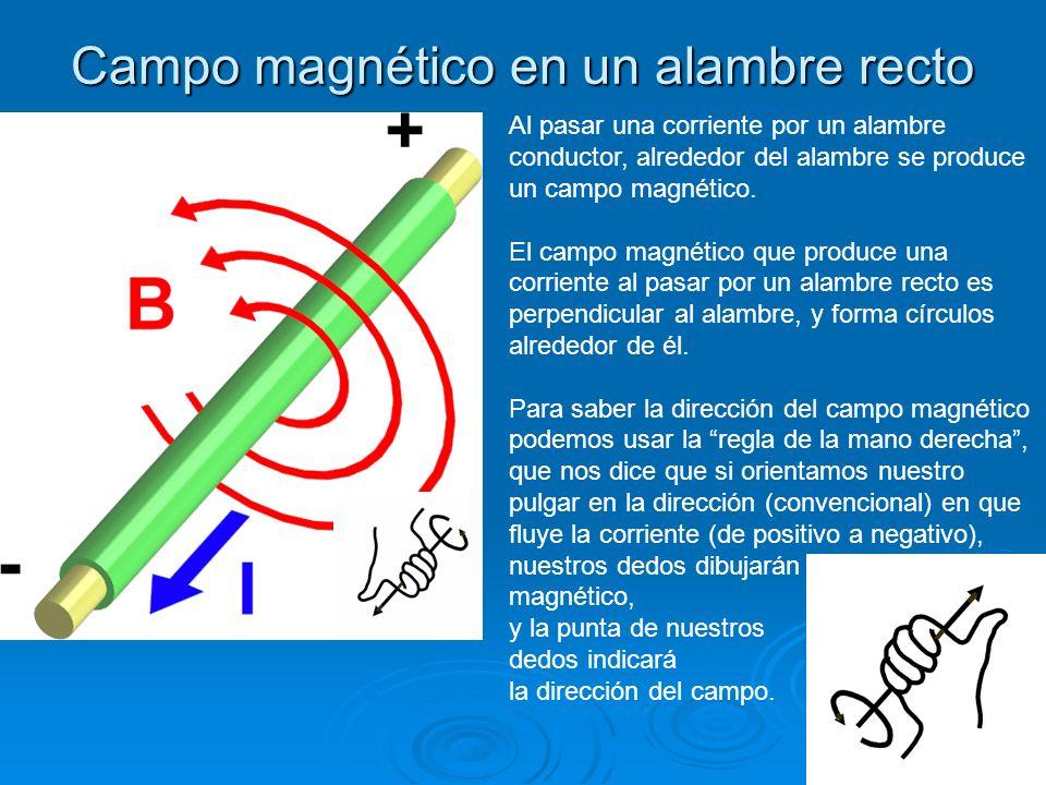 Campo magnético en un alambre recto Al pasar una corriente por un alambre conductor, alrededor del alambre se produce un campo magnético. El campo mag