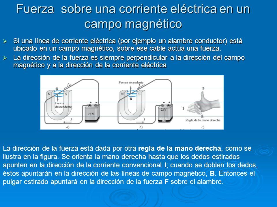 Fuerza sobre una corriente eléctrica en un campo magnético Si una línea de corriente eléctrica (por ejemplo un alambre conductor) está ubicado en un c