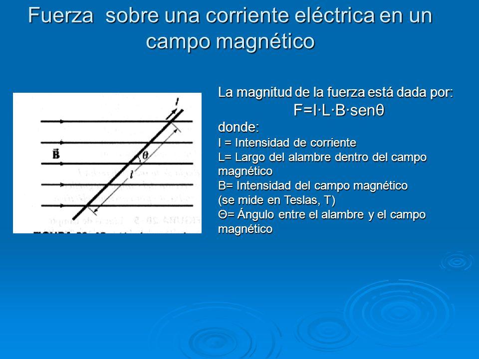 Fuerza sobre una corriente eléctrica en un campo magnético La magnitud de la fuerza está dada por: F=I·L·B·senθ donde: I = Intensidad de corriente L=