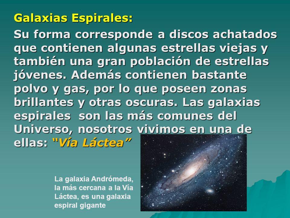 Galaxias Espirales: Su forma corresponde a discos achatados que contienen algunas estrellas viejas y también una gran población de estrellas jóvenes.