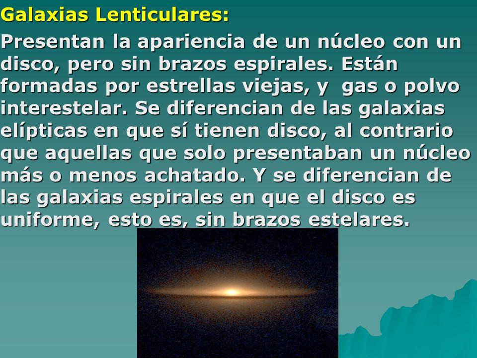 Galaxias Lenticulares: Presentan la apariencia de un núcleo con un disco, pero sin brazos espirales. Están formadas por estrellas viejas, y gas o polv