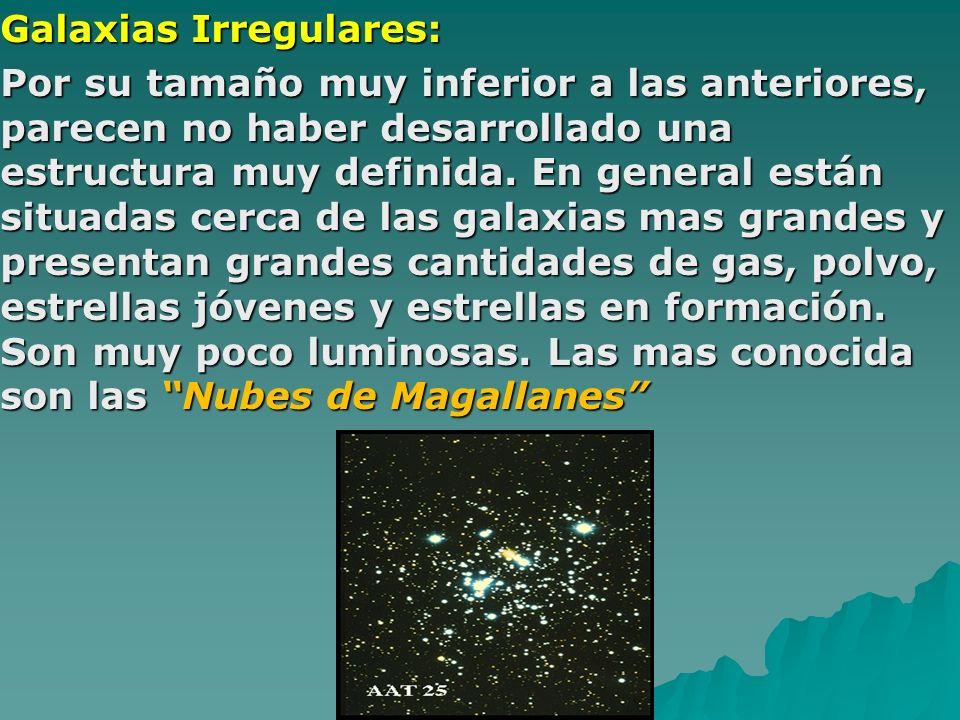 Galaxias Irregulares: Por su tamaño muy inferior a las anteriores, parecen no haber desarrollado una estructura muy definida. En general están situada