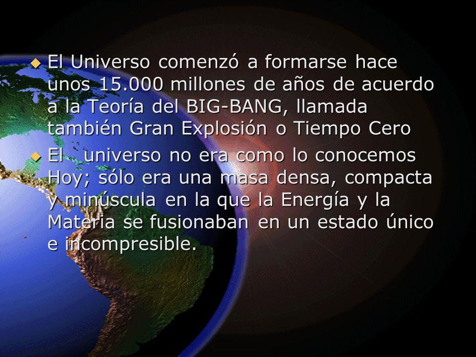 El Universo comenzó a formarse hace unos 15.000 millones de años de acuerdo a la Teoría del BIG-BANG, llamada también Gran Explosión o Tiempo Cero El