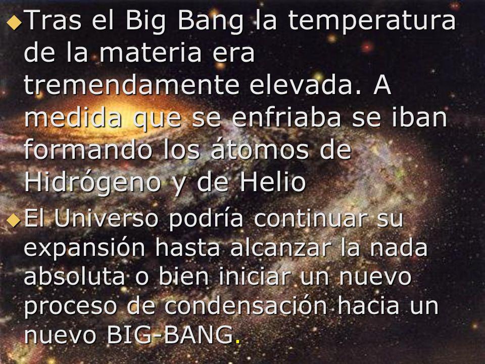 Tras el Big Bang la temperatura de la materia era tremendamente elevada. A medida que se enfriaba se iban formando los átomos de Hidrógeno y de Helio