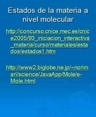 Estados de la materia a nivel molecular http://concurso.cnice.mec.es/cnic e2005/93_iniciacion_interactiva _materia/curso/materiales/esta dos/estados1.