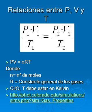Relaciones entre P, V y T PV = nRT PV = nRTDonde n= nº de moles R = Constante general de los gases OJO, T debe estar en Kelvin OJO, T debe estar en Ke